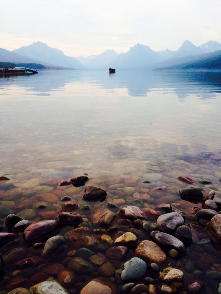 Lake McDonald in Glacier National Park, viewed from Apgar Village. Popular pin has named this place Pebble Shore Lake, which is entirely made up and really threw me off finding it!