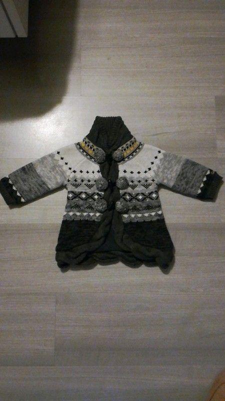 Superbe manteau gilet polaire catimini theme gris perle 12 mois