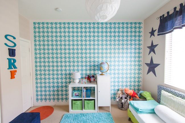 Boy 39 S Room DIY Painted Houndstooth Wall Love The Color Coordination