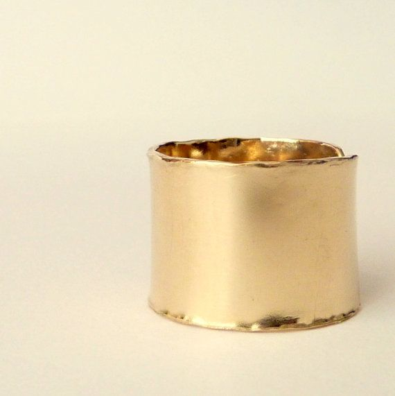 Wide Gold Band or Stackable Rings-Pretty