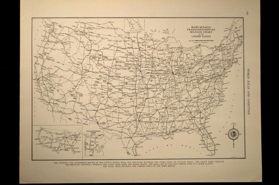 Vintage US Roadway Map US Highway Map US by MapsBooksEphemera