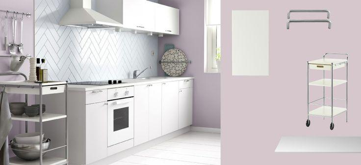 Deco Salon Moderne Et Zen : FAKTUM cuisine avec HÄRLIG portestiroirs blanc, FYNDIG plan de