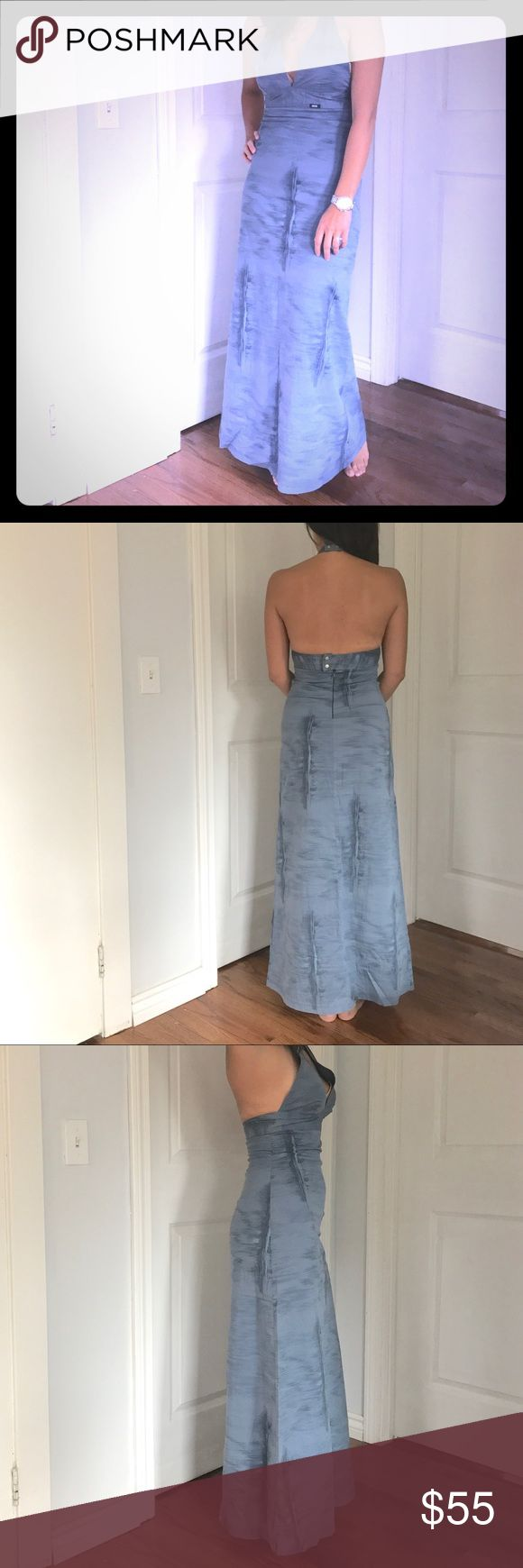 """Diesel denim look halter maxi dress Beautiful DIESEL sexy halter dress in denim look. Fabric is very comfortable. It says size M and fits between small and medium. Person in photo is 5'6"""" 130lbs. Wear it with flats or heels. Only worn a couple of time. Super clean from a smoke free home. Diesel Dresses Maxi"""