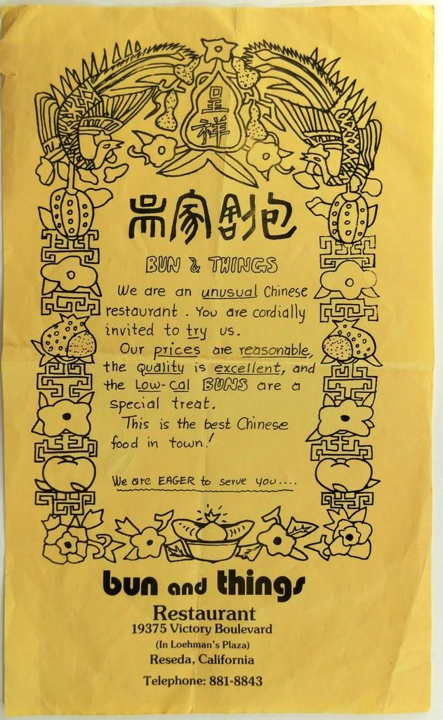 1970 S Advertisement Bun And Things Chinese Taiwan Restaurant Reseda California In 2020 Best Chinese Food Reseda California Restaurant