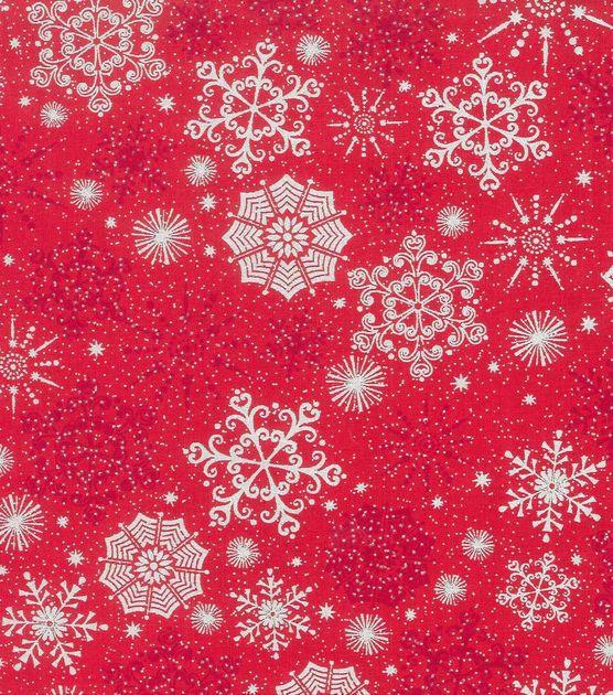 Holiday Inspirations Fabric-Christmas Snowflake Red Metallic: