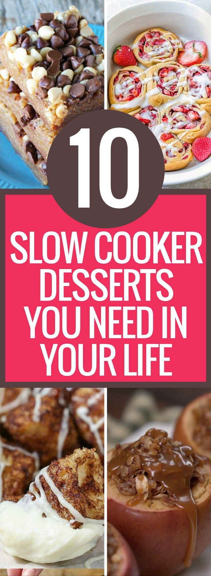I am so glad I found this AMAZING list of 10 simple and easy slow cooker dessert recipes. My mouth was literally watering looking at these desserts. I am using this list for all of my family dinners this year! Slow Cooker Dessert Recipes | Crockpot Dessert Recipes | Easy Slow Cooker Recipes