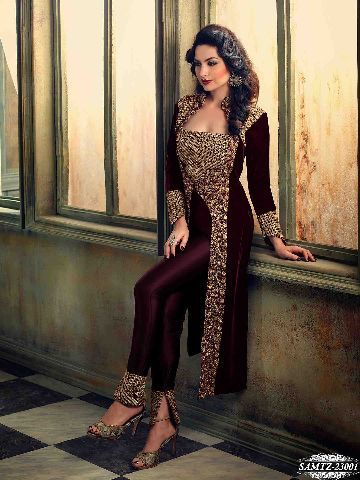 Buy Maroon Colour Embroidery Resham & Zari Work Velvet Semi Stitched Salwar Suit