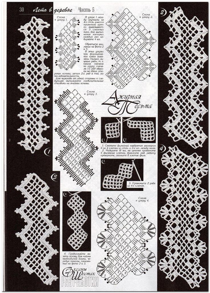 many thread work diagrams and clothing diagrams/yokes/Irish crochet at this Russian link