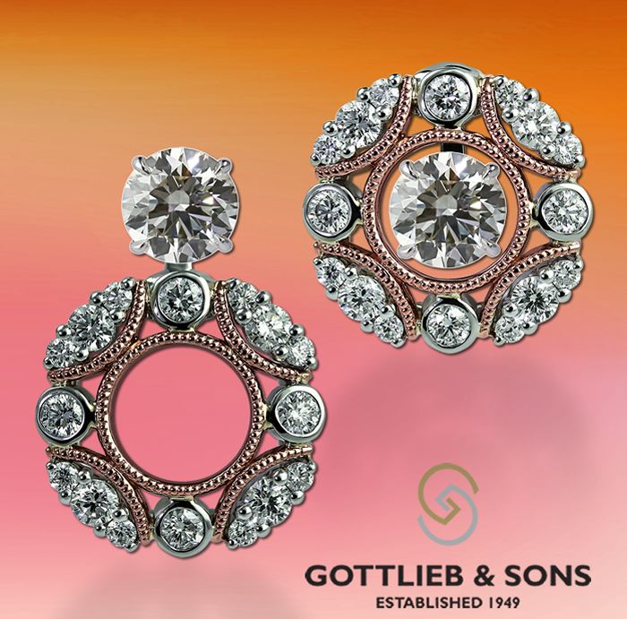 Rose and white gold #Diamond Convertible Earring Jackets. These earrings allow you to wear with your diamond studs for three unique ways. Visit your local #GottliebandSons retailer and ask for style number 29584B. http://www.gottlieb-sons.com/product/detail/29584B