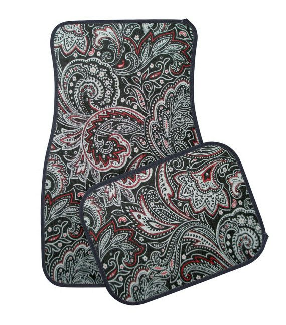 Black and Red Paisley Car Floor Mat, Cute Girly Floral Car Mats, Tribal Pattern Vehicle Floor Matts
