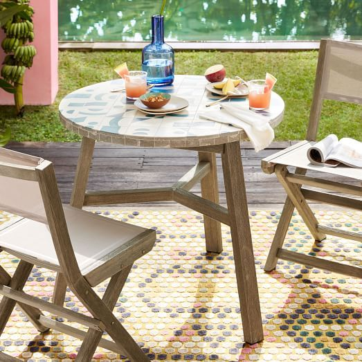 Portside Outdoor Folding Textilene Bistro Chair Weathered Gray
