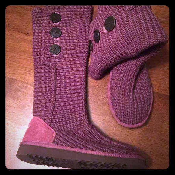 Like New Burgundy Uggs Cardy Boots Like New Burgundy Uggs Cardy Boots. EUC. Worn a handful of times. Authentic Uggs. Super Cute and Trendy! Box not included. *Price is firm* UGG Shoes Winter & Rain Boots