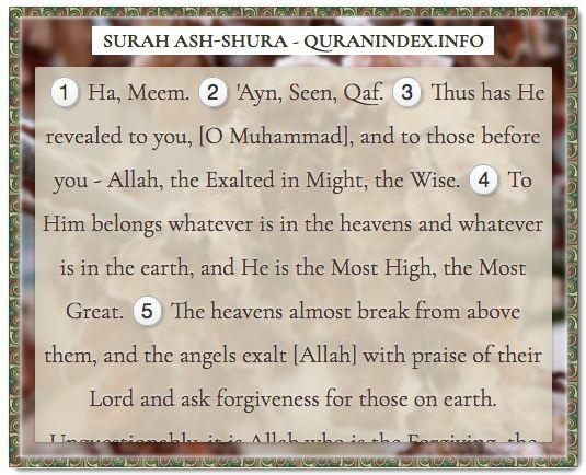 Browse, Read, Listen, Download and Share #Surah Ash-Shura [42] @ https://quranindex.info/surah/ash-shura #Quran #Islam