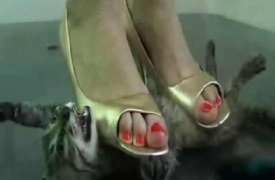 топтать человека женской ногой видео