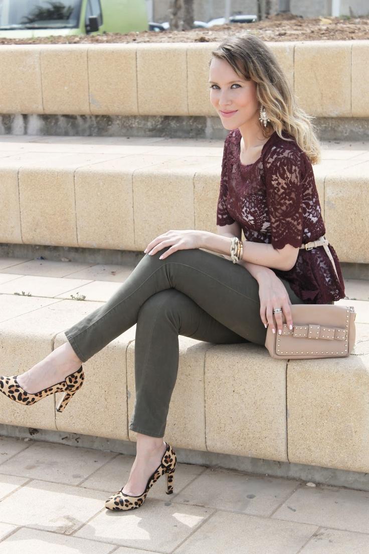 Oxblood bordeaux peplum lace top, olive jeans, leopard pumps, studded bow should bag