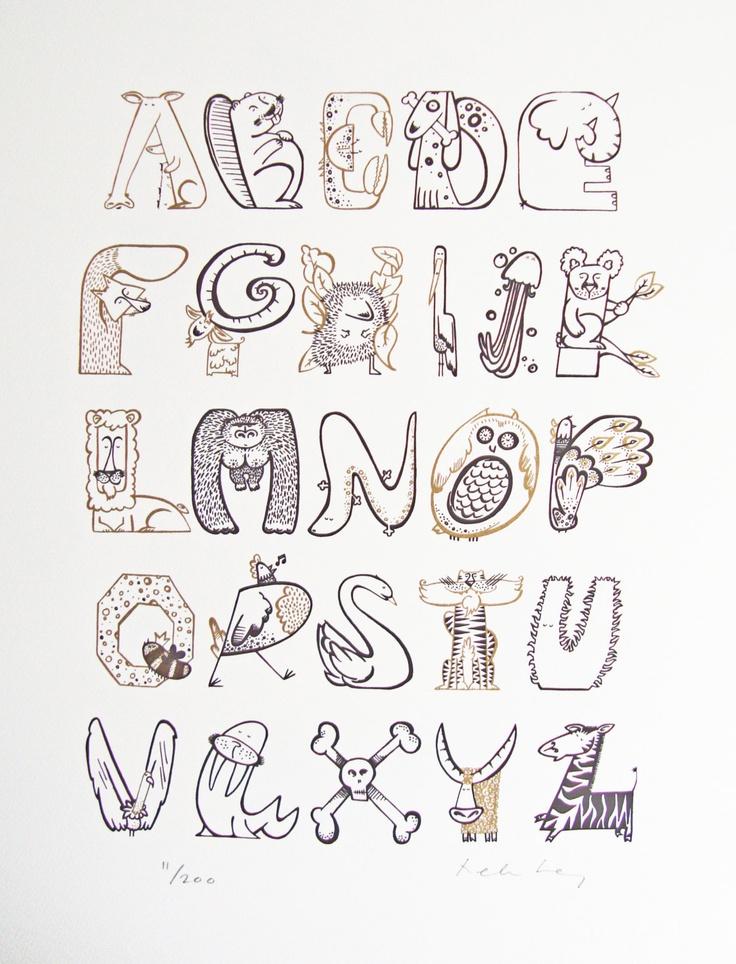 "Animal print  ""Animalphabet"" Typographic alphabet print.  £60  https://www.etsy.com/listing/109986407"