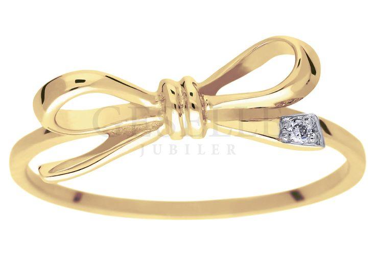 585 G (brylant 0,01 ct) - Złoty węzełek Perfekcyjna forma i doskonałe lśnienie…