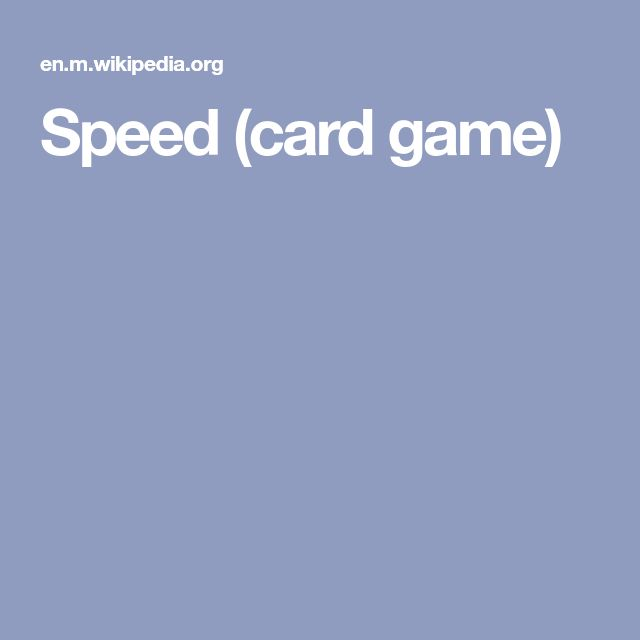 Speed (card game)