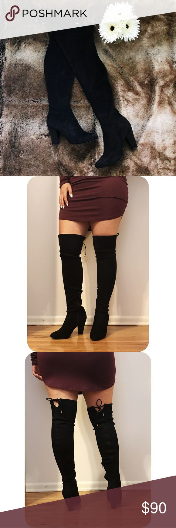 Black Suede Thigh High Boots **WORN ONCE** Call it Spring black suede thigh high boots // Heel Height: 3 inch // Size: 6 // No original box Call It Spring Shoes Over the Knee Boots