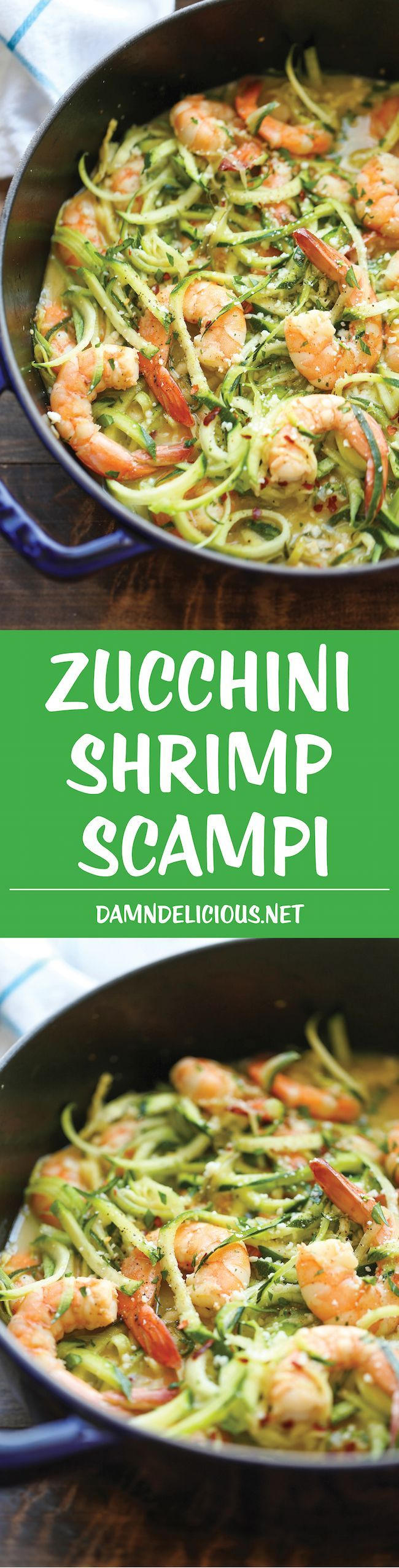 Zucchini Shrimp Scampi - Traditional shrimp scampi made into a low-carb dish with zucchini noodles. It's unbelievably easy, quick & healthy! 214.3 calories.