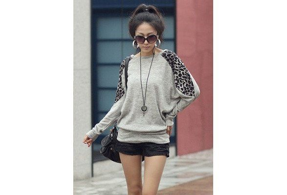 Casual Batwing Long Sleeve Leopard Block Long Cotton T-shirts Grey