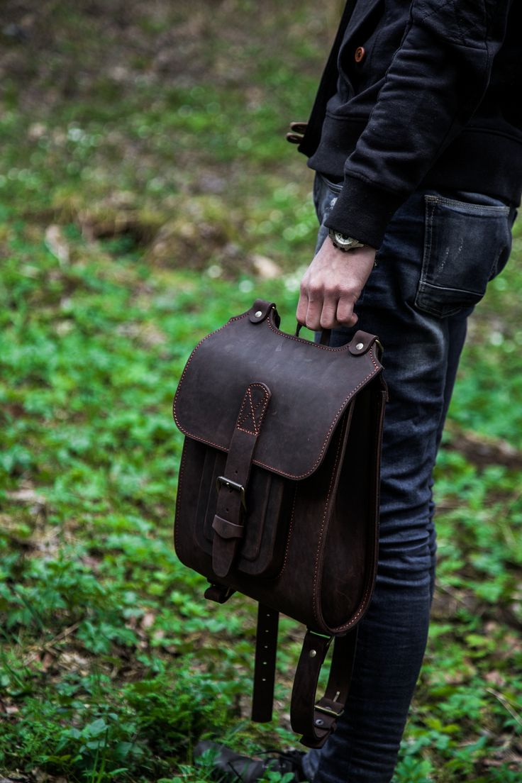 """Brown leather backpack. Handmade of hard and sturdy leather. 13"""" and 15.6"""" available. Find out more on InBagWeTrust.com"""