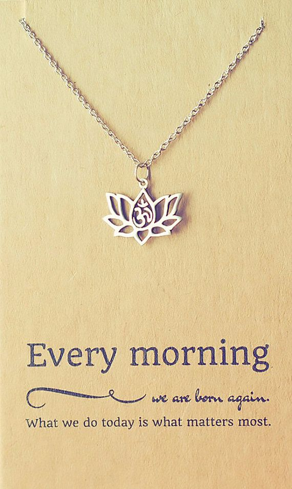 Amara Yoga Jewelry, OM Lotus Flower Necklace by Quan Jewelry.  Free Shipping U.S. (Use code: INHALELOVE)