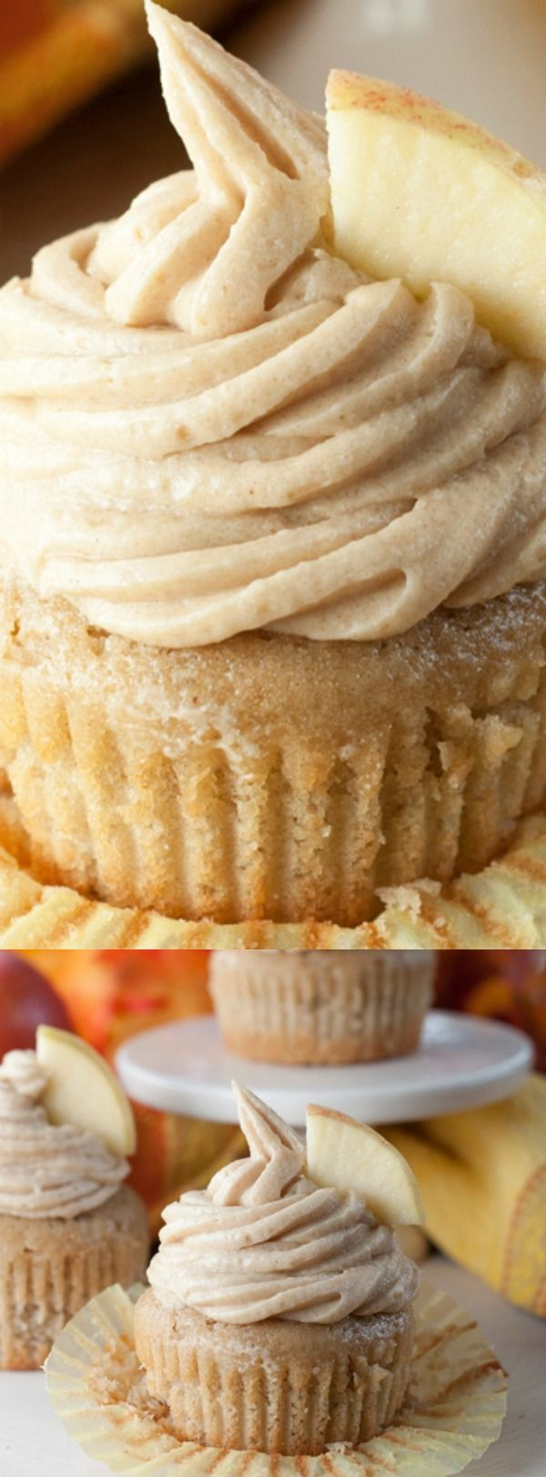 These Apple Cider Cupcakes with Brown Sugar Cinnamon Buttercream Frosting from Wishes and Dishes are the things that dessert dreams are made of.