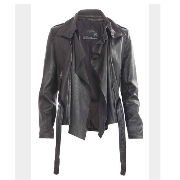 All Saints Damson Blk Leather Jacket Black 100% Real leather jacket. Good condition. Can be worn two ways open and closed. You can also detach the drape by zipper. No trades No low balling No PP. Sais size 10 which fits like a small . No stains rips or tears. All Saints Jackets & Coats