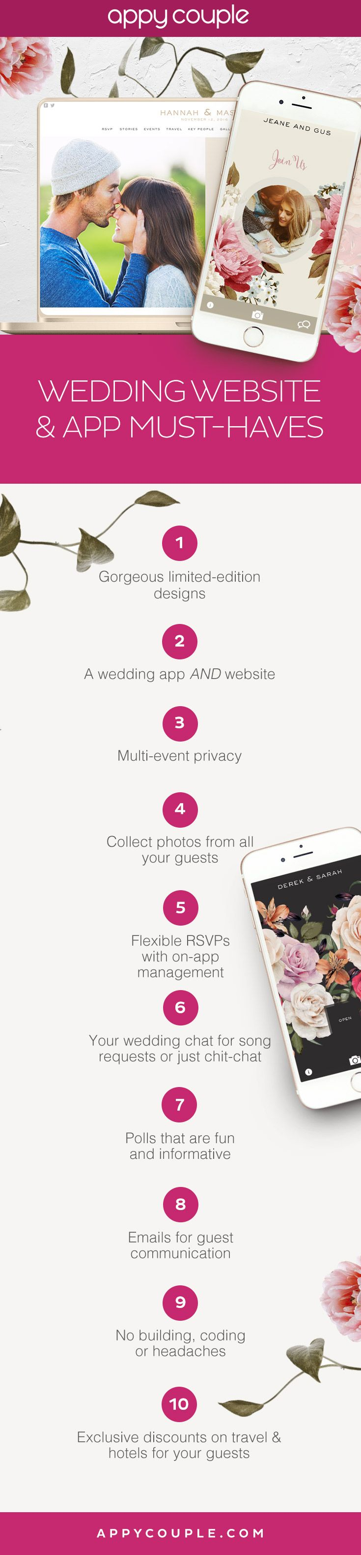 The features you can't (and shouldn't ) live without on your wedding website and app. Appy Couple has them all so you can share, invite and delight your guests.