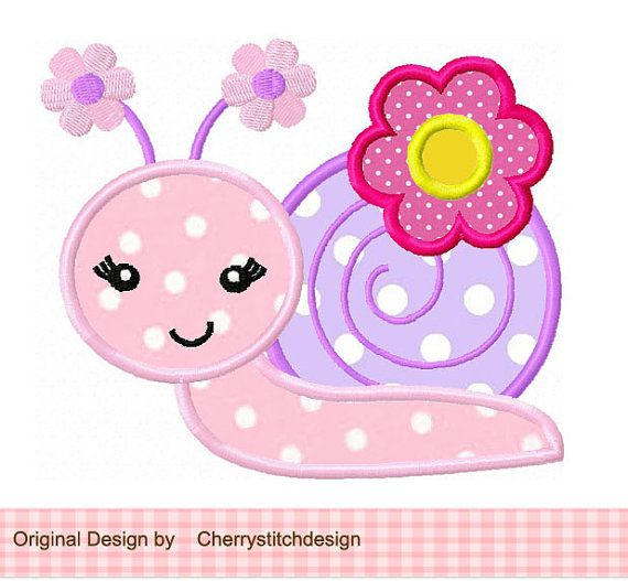 Spring flowers snail applique 4x4 5x7 by CherryStitchDesign