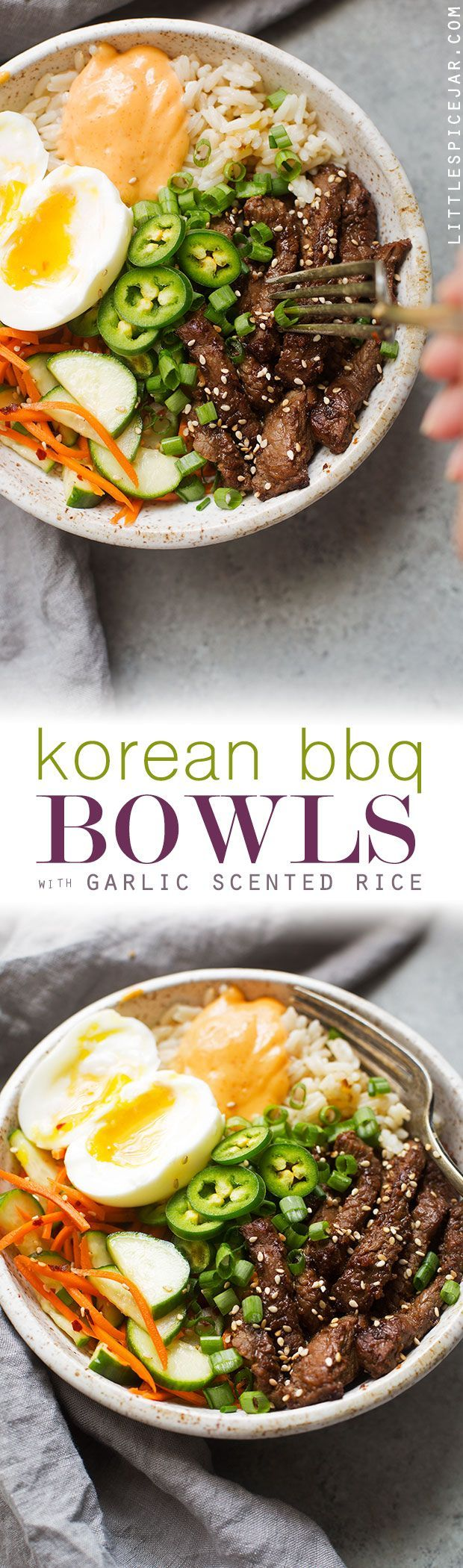 Korean BBQ Bowls with Garlic Scented Rice - Warm, comforting bowls with marinated steak, garlic rice, and a pickled cucumber salad. It's seriously amazing! #koreanbbqbowls #bowls #garlicrice   http://Littlespicejar.com