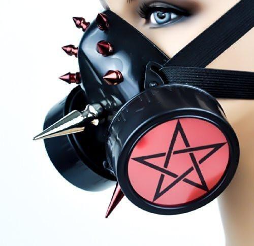Red Disc Pentagram Spike Cyber Cosplay Respirator Gas Mask  #krock #darkgirl #alternativeclothing #blackmetal #batcave #metallife #witchy #punkgirl #rave #rivethead