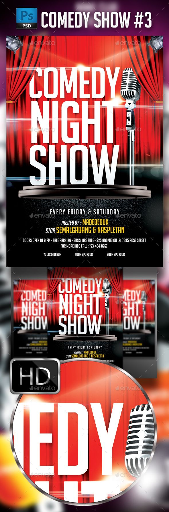 25 Best Ideas about Comedy Show – Comedy Show Flyer Template