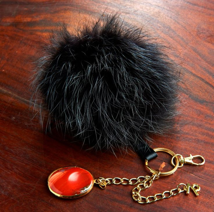 Pom Pom keychain with you zodiac sign symbol and zodiac sign stone; in your sign color by HELIXSIS on Etsy