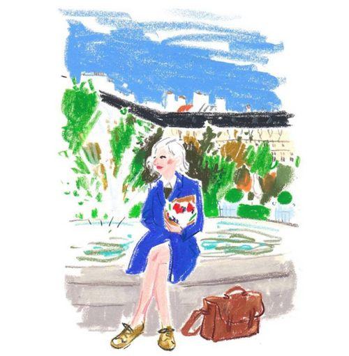 """坂井直樹の""""デザインの深読み"""": クレヨンで描くイラストが子供時代の記憶を思い起こさせる。またファッションウィークのキャットウォークをスマホで撮影する人々など今を写し込んでいる。"""
