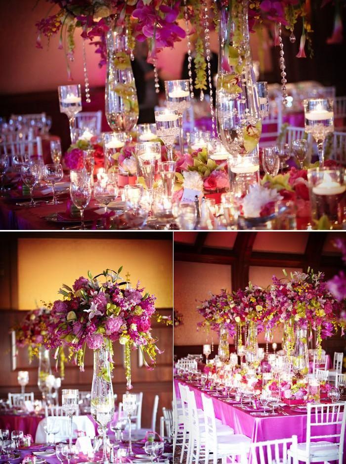 D coration de mariage vert rose fushia et violet mariage for Centre de table vert anis