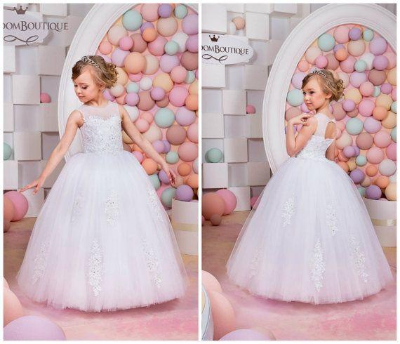 Blanco niña vestido de flores cumpleaños por KingdomBoutiqueUA