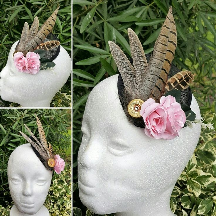 beautiful pheasant feather, shotgun cartridge and flower hair fascinator, to match a bouquet and buttonhole set. from http://countrycraftybits.co.uk/