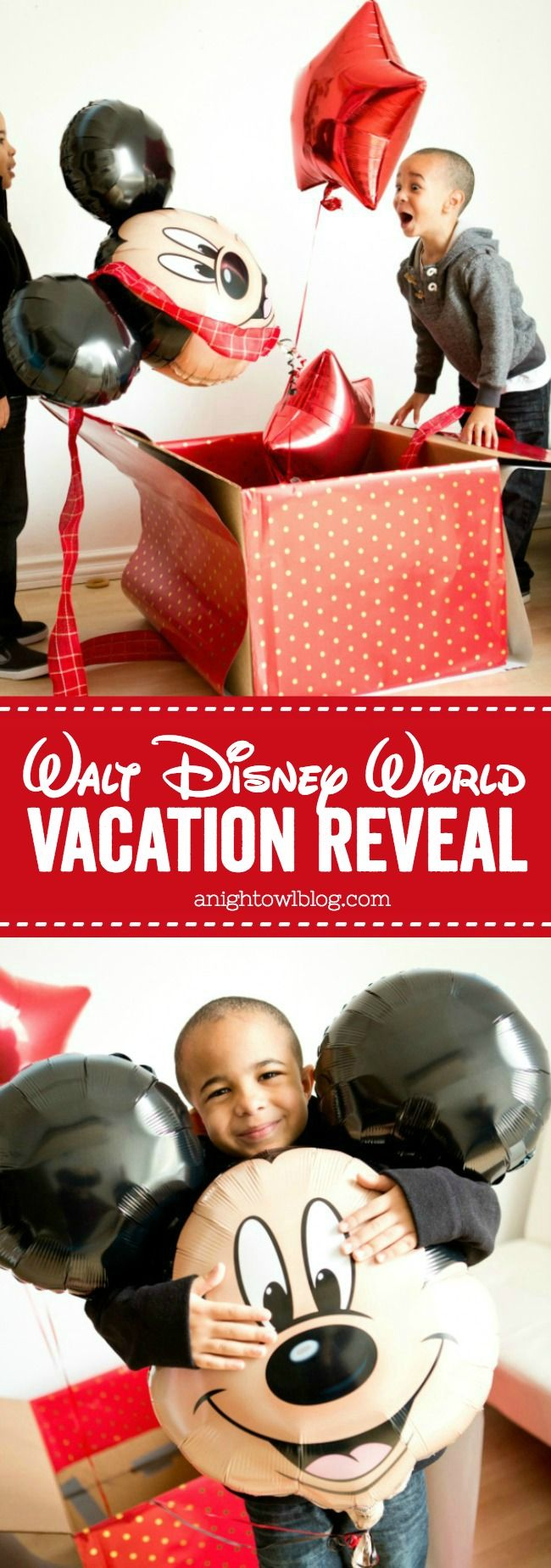 Such a fun idea for a Walt Disney World Vacation Reveal with free downloadable tag! #WaltDisneyWorld #ad