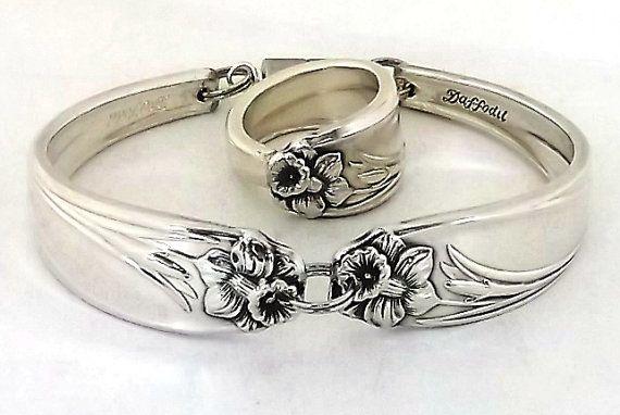 Spoon Ring Bracelet Set Daffodil 1950 Antique Silver Spoon