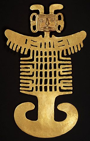 Costumed figure pendant, 1st–7th century Colombia; Tolima Gold