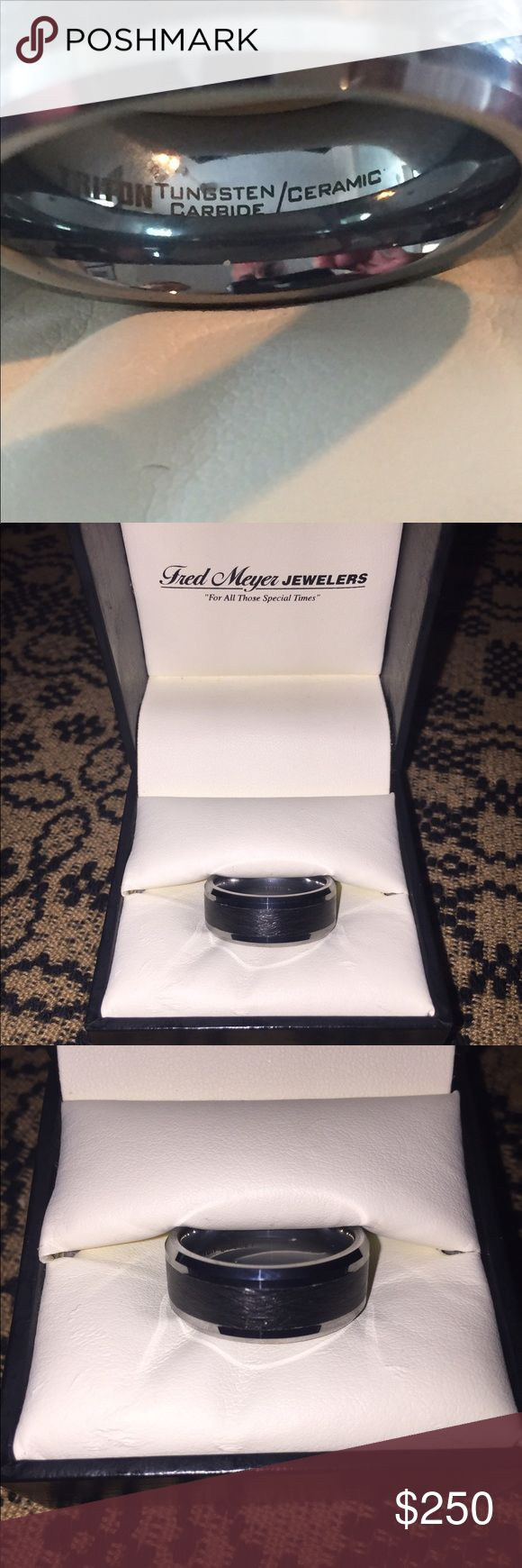 Tungsten wedding band ring NEW NEVER WORN Size 10.5 Mens wedding band. TRITON Tungsten carbide/ceramic. Accessories Jewelry