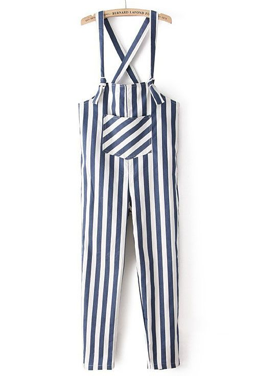Cortinas De Baño Rayadas:Navy and White Striped Jumpsuit