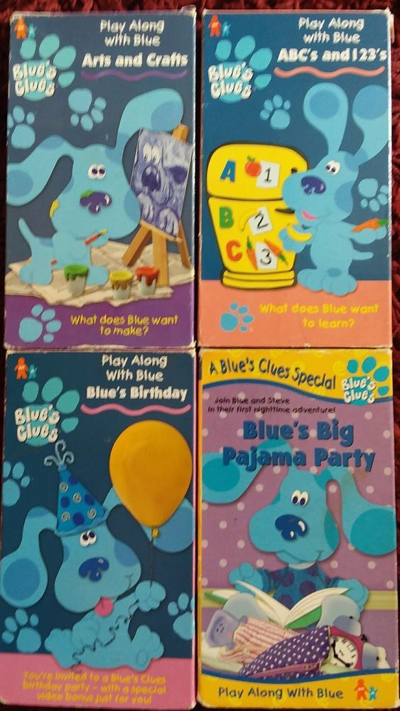 Blues Clues Vhs Lot 4 Videos 123s Pajama Party Arts And Crafts