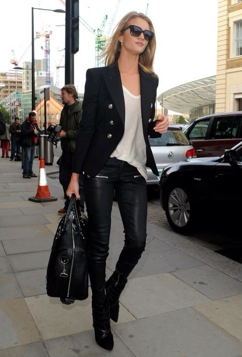 Rosie Huntington Whiteley - street style - black jacket - white t-shirt - black leather pants & black bag