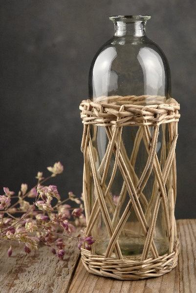 1 Glass Bottle in Wicker Basket  Centerpiece Table by SupplyCrate, $18.00