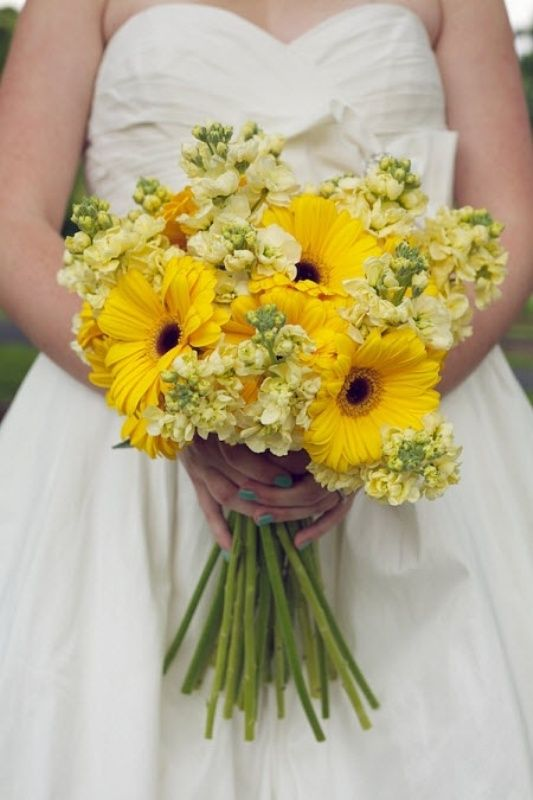 Love the yellow gerberas and could use blue dendros in place of yellow stock