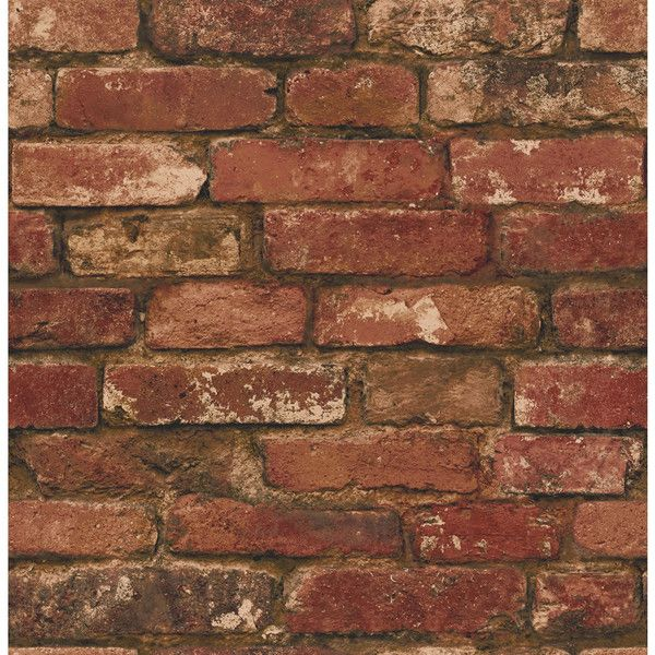 Fine Decor Rustic Brick Wallpaper Red FD31285 ($12) ❤ liked on Polyvore featuring home, home decor, wallpaper, rustic home accessories, rustic home decor, rustic wall coverings, exposed brick wallpaper and peelable wallpaper