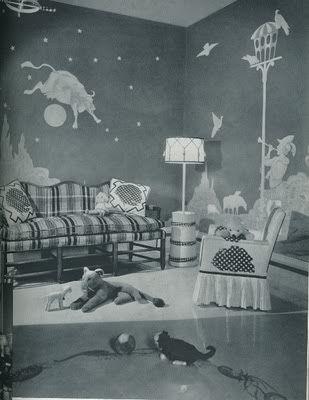 1950s nursery w murals: Interior Design, Design Room, Children S Rooms Nurseries, Baby Rooms, Dutel Designed, Kid Room, Kids Rooms